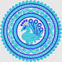 peacock flower embroidary design
