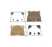 panda baby Applique Embroidery design