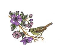 sparrow with wonderful flowers Creative Figure Embroidery Design