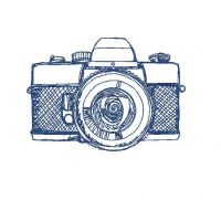 sketch of camera Creative Figure Embroidery Design