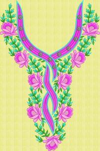 Lite dark flower neck embroidary design