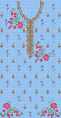 Roses touch long  panel embroidary design