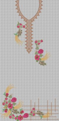 Wing flower panel embroidary design