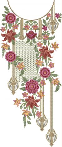 3mm multi round neck embroidery design