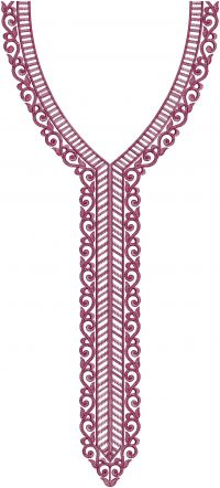 simple v neck  multi embroidery design