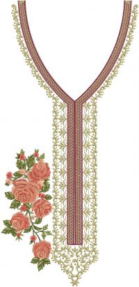 v neck multi flower butta simple embroidery design