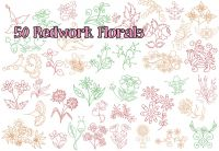 50 Redwork Single Stitch Lightweight Floral Design