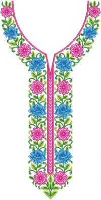flower patti multi neck embroidery design