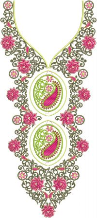 round with v neck embroidery design