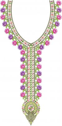 simple flower   neck embroidery design
