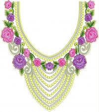 round triangle neck embroidery design
