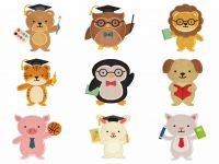 Student Animals 18 Embroidery Design Pack