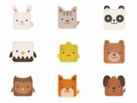 Square Cute Animals 18 Embroidery Designs Pack