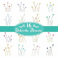 16 Delicate Flower Stems Embroidery Pack