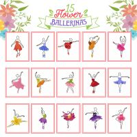 15 Flower Ballerinas Embroidery Design Pack