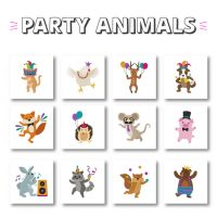 12 Party Animals Embroidery Design Pack