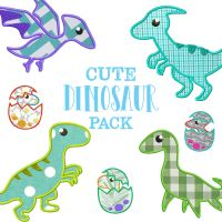 14 Cute All Applique Dinosaur Embroidery Design Pack