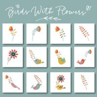 12 Birds With Flowers Embroidery Design Pack