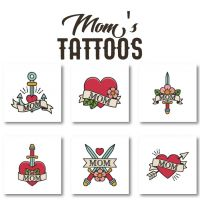Mother's Day Pack. 6 Mom Tattoos Embroidery Design Pack