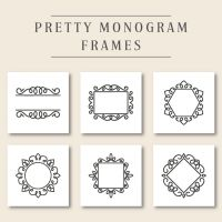 6 Pretty Monogram Frames Embroidery Design Pack