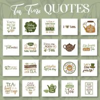 20 Tea Time Quotes Embroidery Design Pack
