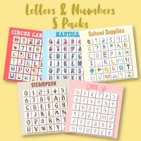 5 Sets Of Letters & Numbers Embroidery Designs Pack