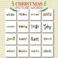 16 Christmas Picture Words Embroidery Designs Pack