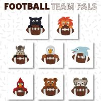 8 Football Team Pals Stitched and Appliqué Embroidery Design Pack