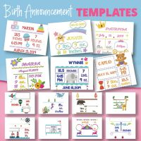 20 Birth Announcement Templates And 8 Fonts Embroidery Design Pack
