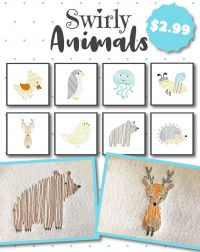 8 Swirly Animals Embroidery Design Pack