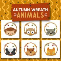 6 Autumn Wreath Animals Embroidery Design Pack