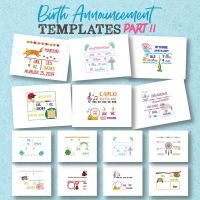 20 Birth Announcement Templates Part II And 8 Fonts Embroidery Design Pack