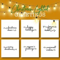 6 Christmas Lighted Greetings Embroidery Design Pack