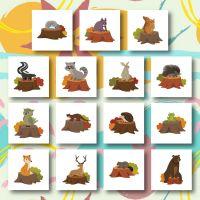 15 Animals On Tree Stump Embroidery Design Pack