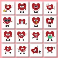 16 Cute Heart Characters Embroidery Design Pack