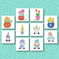 10 Spring Flower Pots And Gnomes Embroidery Design Pack
