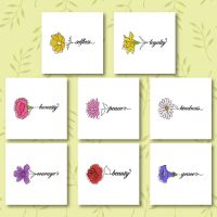 8 Calligraphy Blooms Embroidery Design Pack