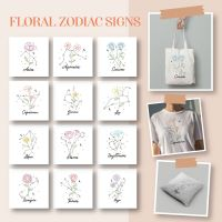 12 Floral Zodiac Signs Embroidery Design Pack