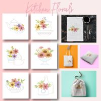 6 Kitchen Florals Embroidery Design Pack