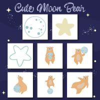 8 Cute Moon Bear Embroidery Design Pack