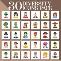 30 Diversity Icons Embroidery Design Pack