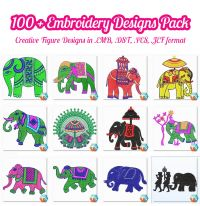 100 + Creative Figure Embroidery Design Bulk Pack
