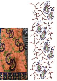 CHAIN JALL BUTTA PALLU EMBROIDERY DESIGN