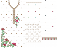 suit front back and duppata embroidery design