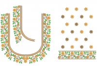 Splitted Blouse Embroidery Design for 8x11 frame size