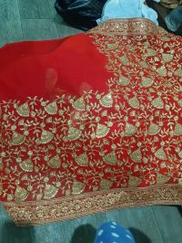 pallu skirt and lace  saree embroidery design