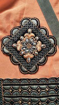 petch butta & lace saree embroidery design
