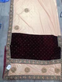 lace butta saree embroidery design