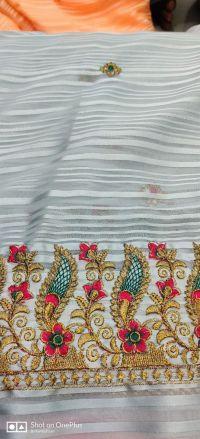 Pallu skirt penal  saree embroidery design