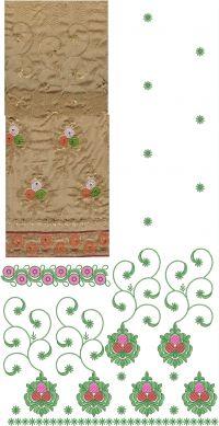 Saree  Pallu Skirt lace embroidery design
